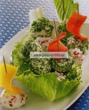 Фотография блюда по испански - Творожные шарики с салатом