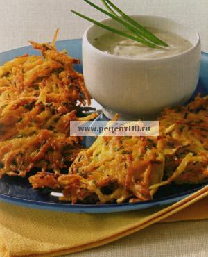 Фотография блюда по испански - Жаренные овощи с соусом из йогурта