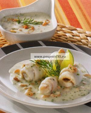 Фотография блюда по испански - Камбала с креветками и укропом