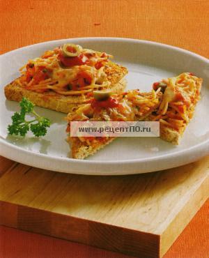 Гренки с хамоном, лососем и спагетти. Фото готового блюда.