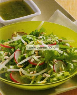 Фотография блюда по испански - Бодрящий салат с ростками горошка