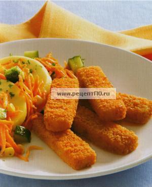 Фотография блюда по испански - Рыбные палочки с салатом