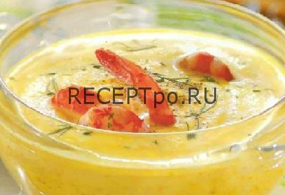 Овощной суп с креветками