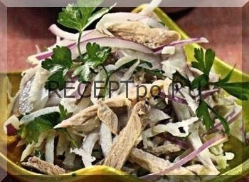 Салат из говядины с редькой