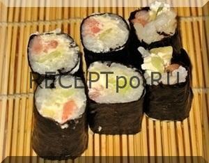 Ролл с креветками, суши